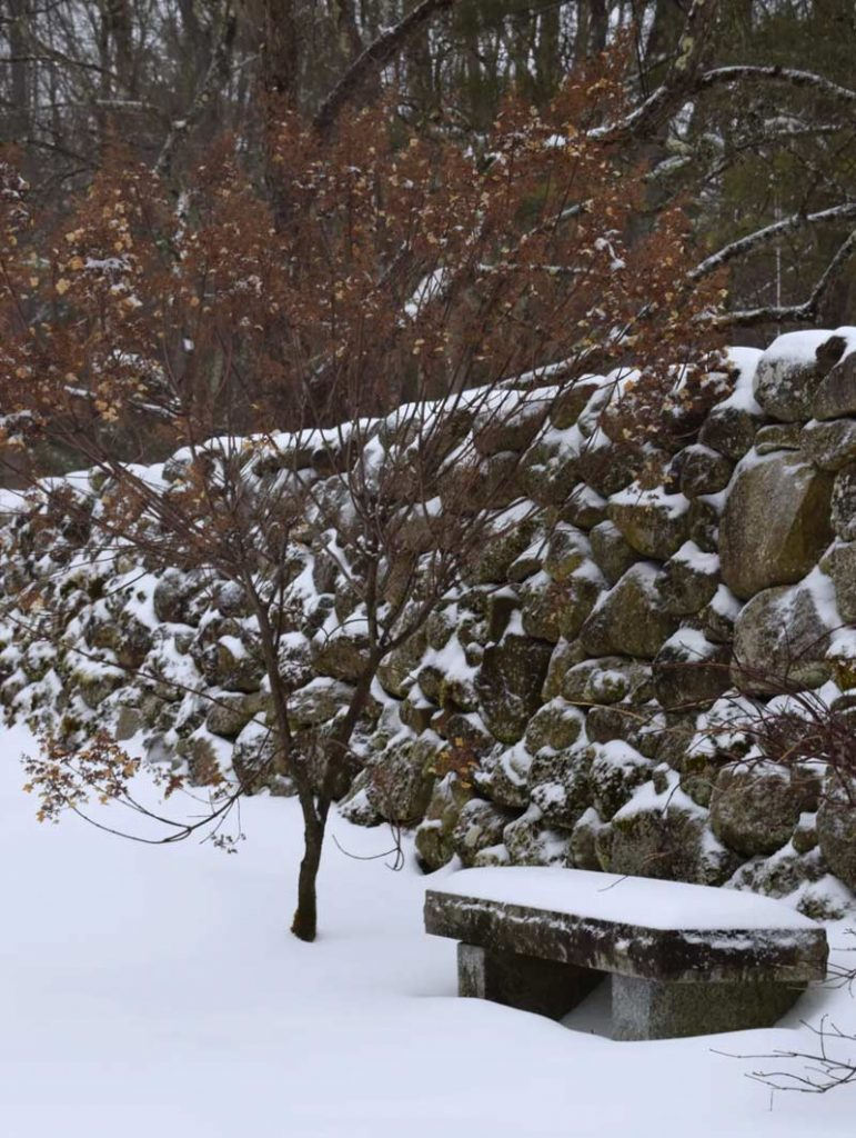 Stone Bench in the Snow
