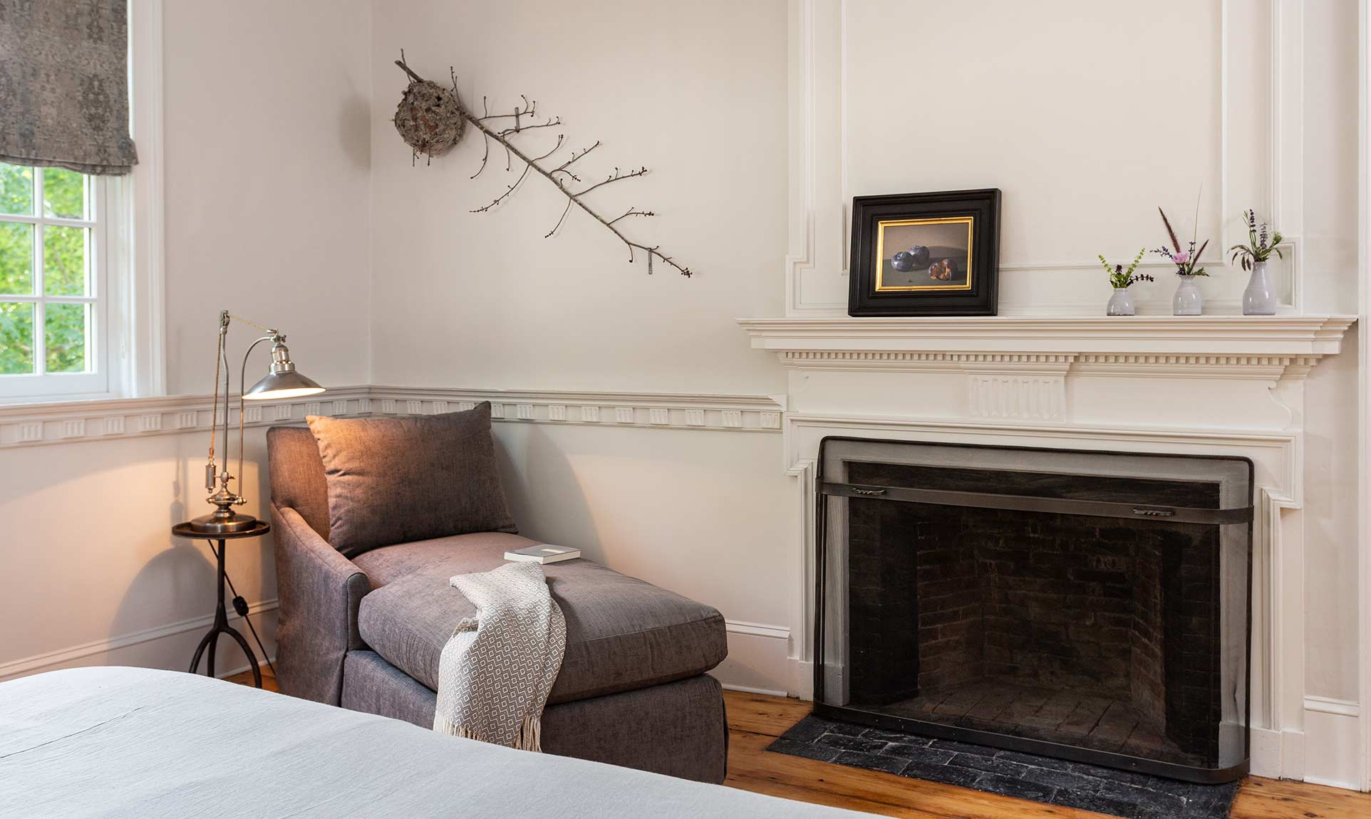 Scott Room Seating Area and Decorative Fireplace