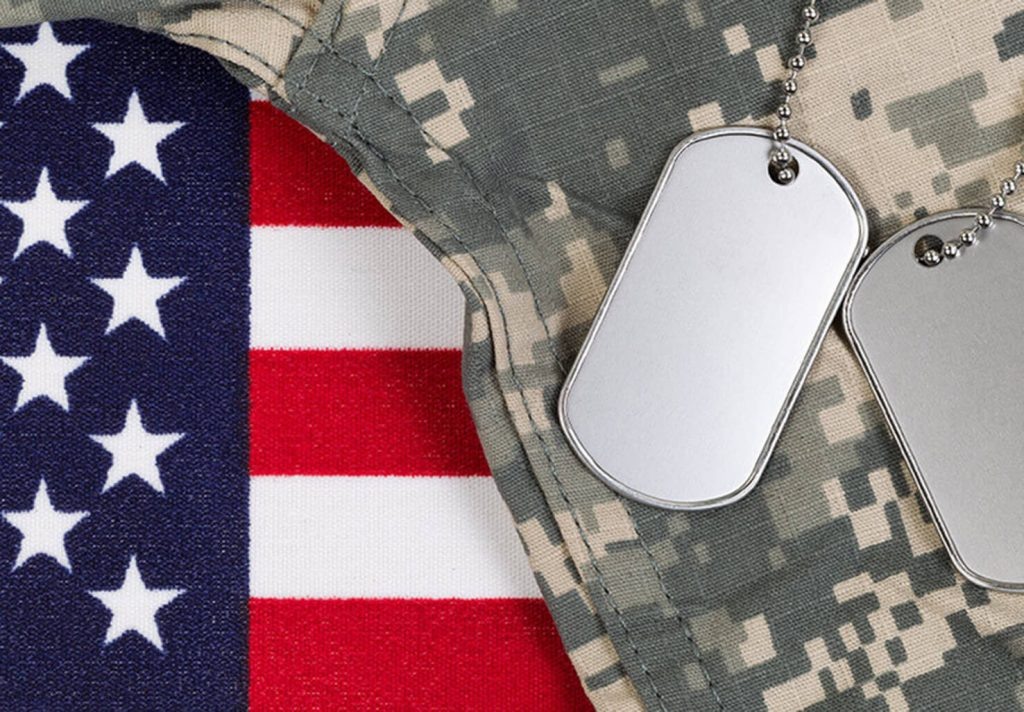 American Flag, Military Uniform and Tags